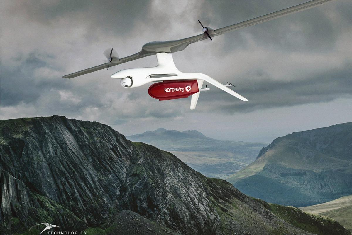 A rendering of the commercial version of the ROTORwing drone, with its gimbal-mounted camera and red cargo compartment