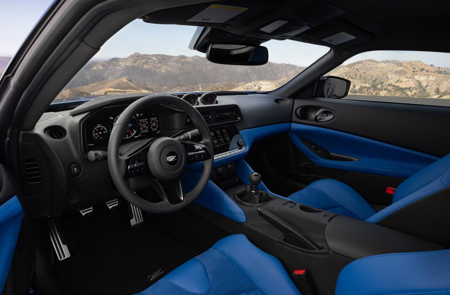 The interior of the 2023 Nissan Z includes three interior accent color choices, including this blue