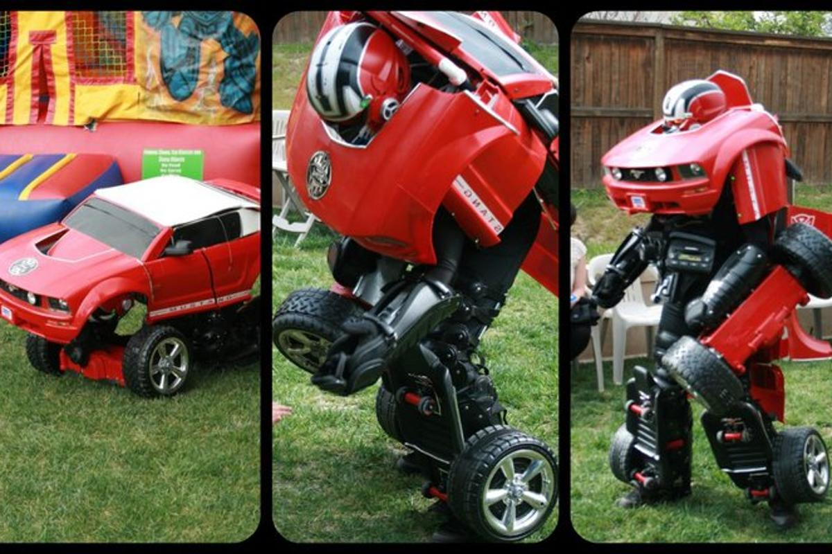 """Drive Suits are life-size Transformers-inspired costumes, with motorized wheels that allow them to move when in """"vehicle"""" mode"""
