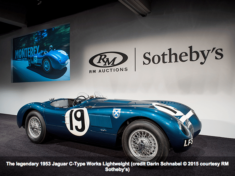 The 1953 Jaguar C-Type Works Lightweight fetched $13,200,000, a new world record for a Jaguar sold at auction
