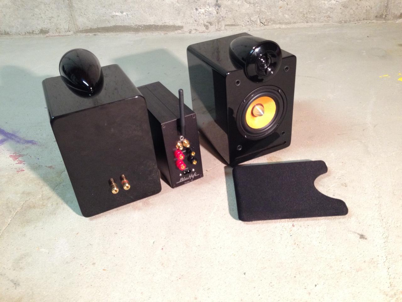 Each BluHifi bookshelf speaker has a 1-inch dome tweeter and 4-inch long-throw kevlar woofer