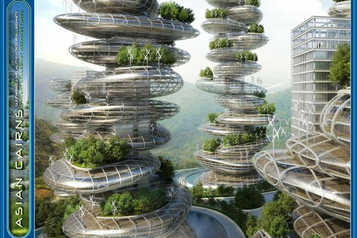 "A French architectural group recently revealed its concept for ""Asian Cairns,"" a series of six sustainable buildings that resemble a stack of pebbles and produce their own food"