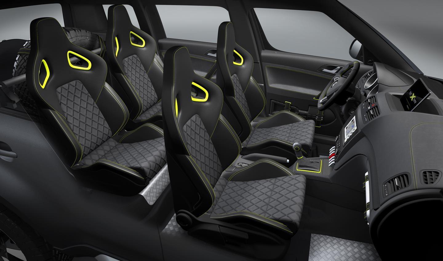 Four Recaro sports seats support the Yeti Extreme driver and passengers