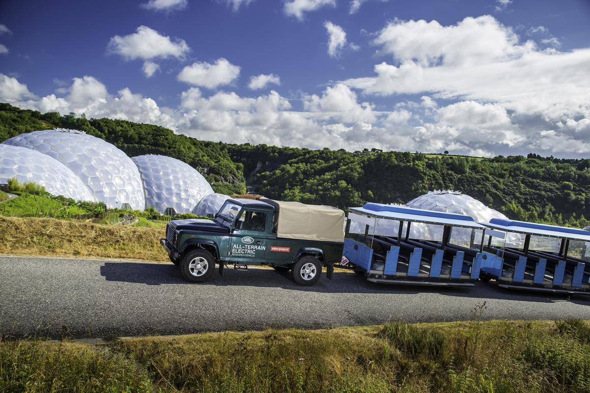 The Electric Defender showed its worth by hauling a 12-tonne road train up a 6 percent incline