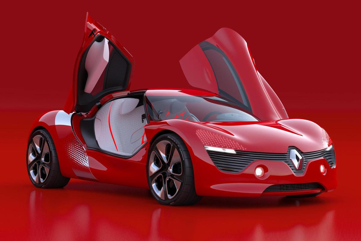 The Renault DeZir concept electric vehicle features gull-wing doors that open in opposite directions