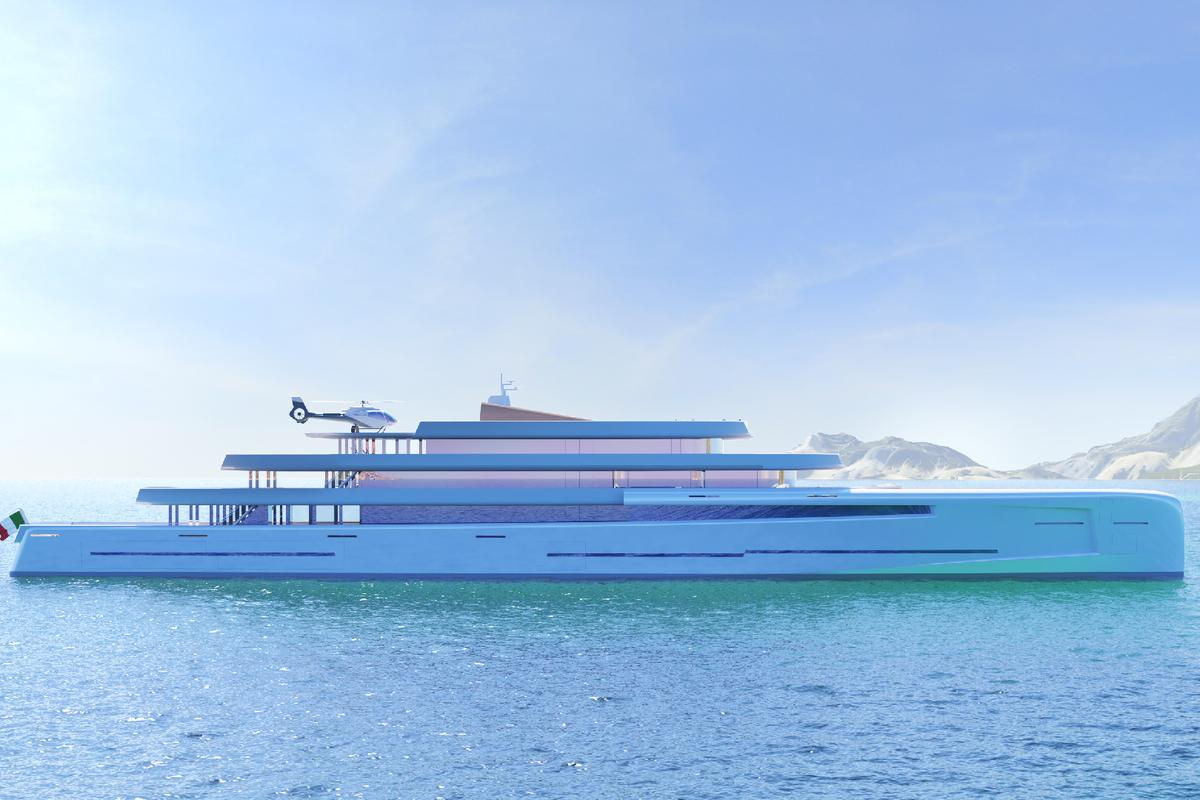 Fincantieri and Van Geest have set out to create a large, powerful superyacht that better blends with its natural surroundings