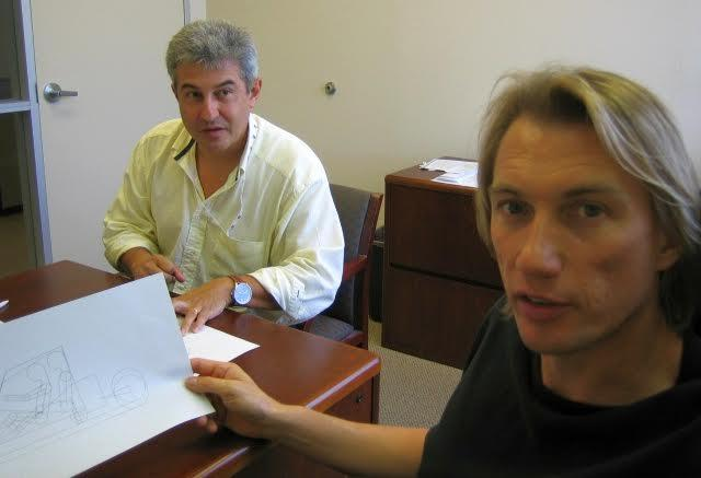 Dezso with Brazilian astronaut Marcos Pontes: working on the original G2 Gyrocycle design