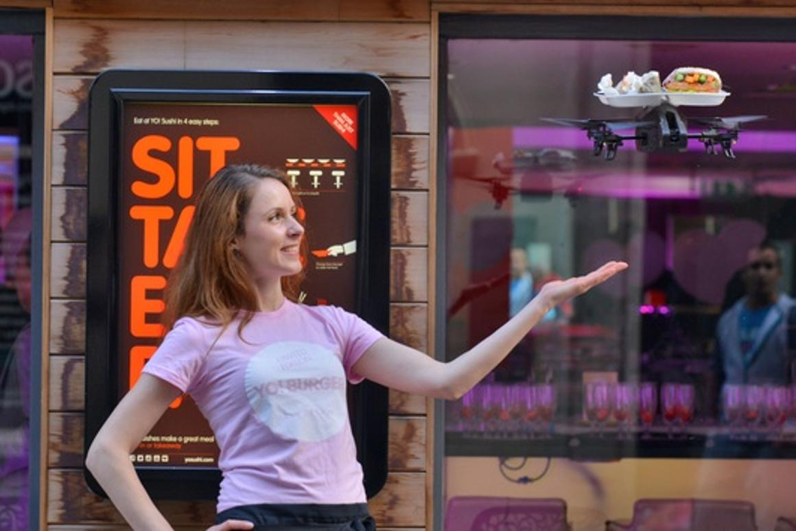 UK-based restaurant Yo Sushi outfitted a quadcopter with a food tray and is having waiters fly it to tables using an iPad