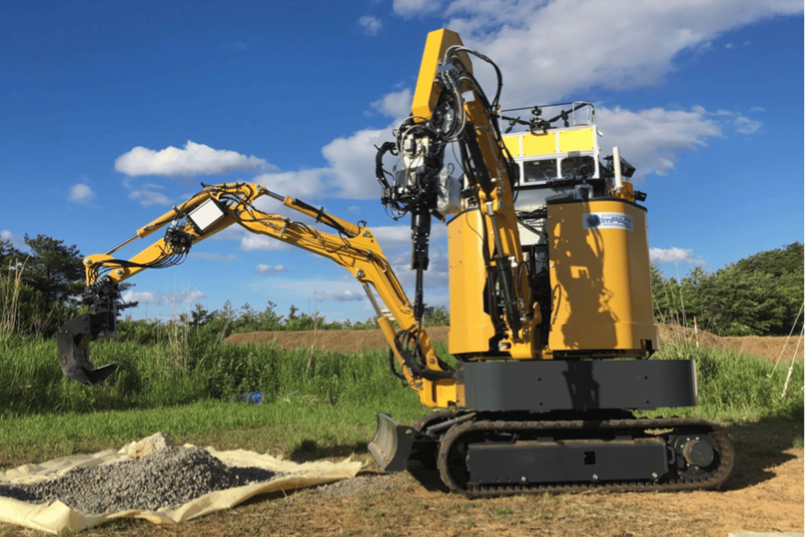 The construction prototype can be operated remotely, with an integrated drone providing the operator with a birds-eye view of the work area