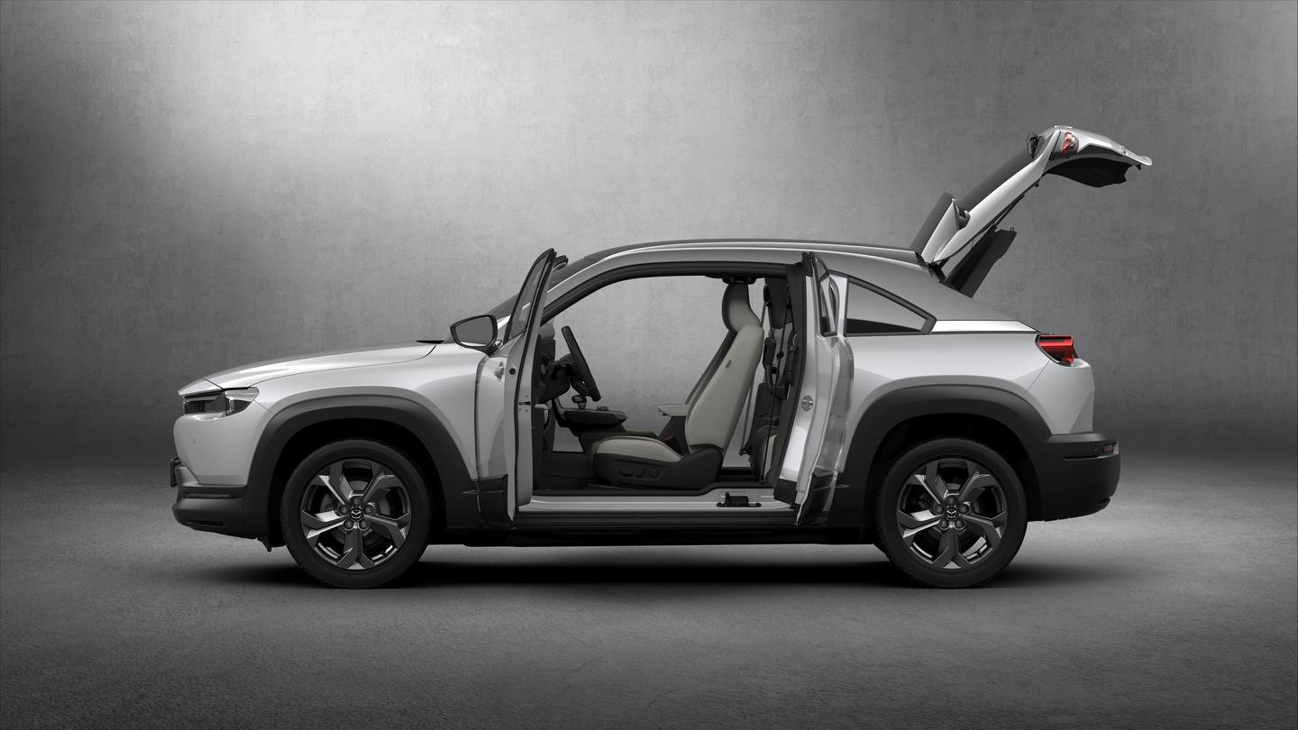 """Featured prominently are the MX-30's """"Freestyle doors,"""" which work like the extra cab doors on a pickup truck"""