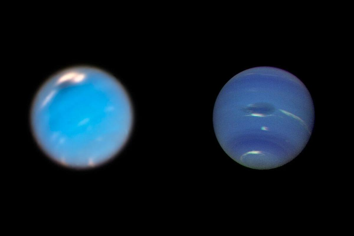 """Hubble images (left) taken in 2018show the new dark stormin the north. Images taken by Voyager 2 (right) in 1989show the original """"Great Dark Spot"""" in the center"""