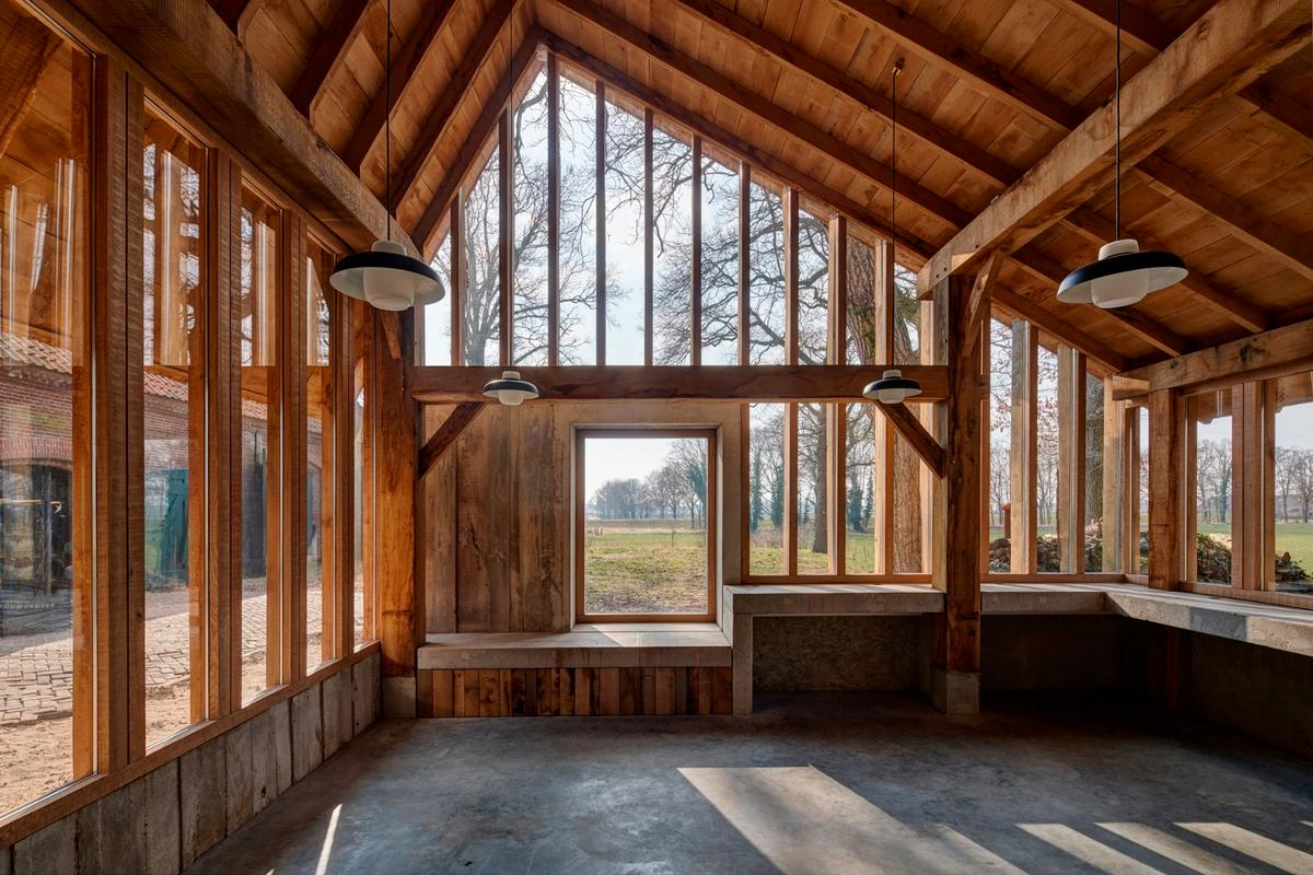 The Sixteen Oak Barn is made from largely reclaimed oak trees