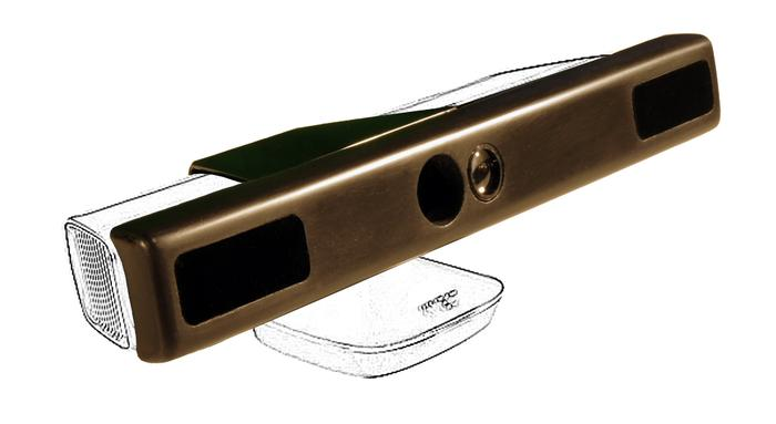 When added onto an existing Kinect, the NUIA eyeCharm allows it to serve as an eye-tracking device