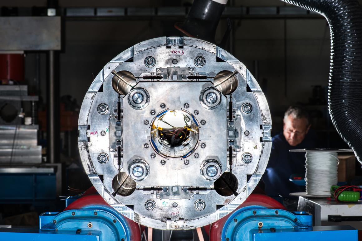 Prototype of a quadrupole magnet for the High-Luminosity LHC project