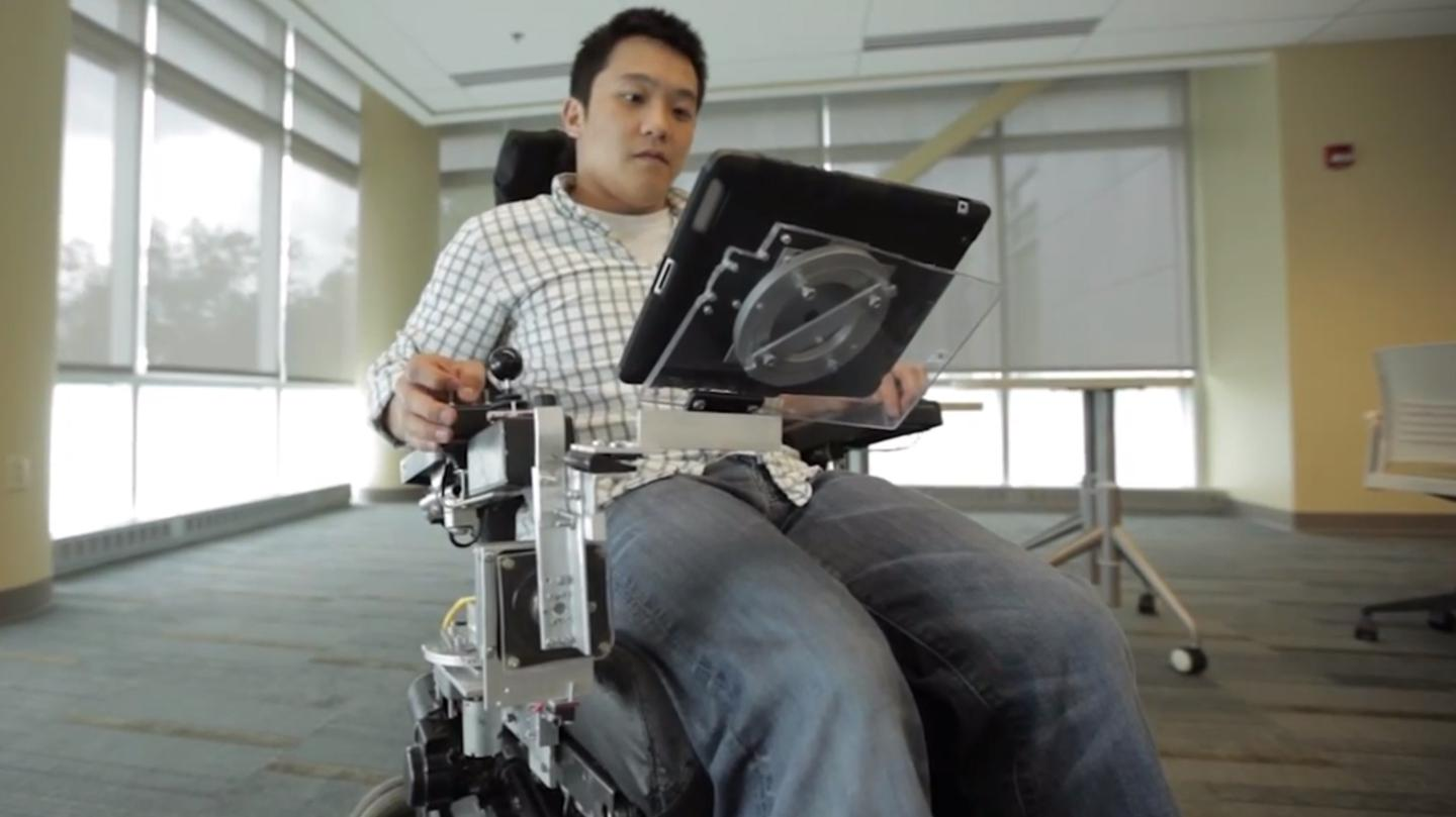 The RoboDesk helps wheelchair users more easily access tablets and lightweight laptop computers