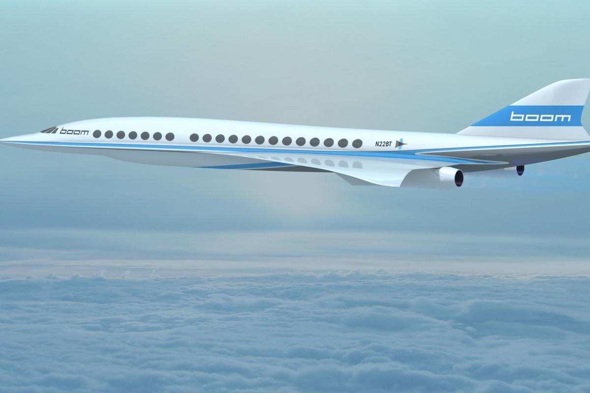 Artist's concept of the Boom supersonic passenger plane