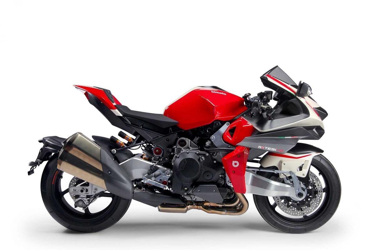 A resurrected Bimota's Tesi H2, using the wild, supercharged Kawasaki H2 motor