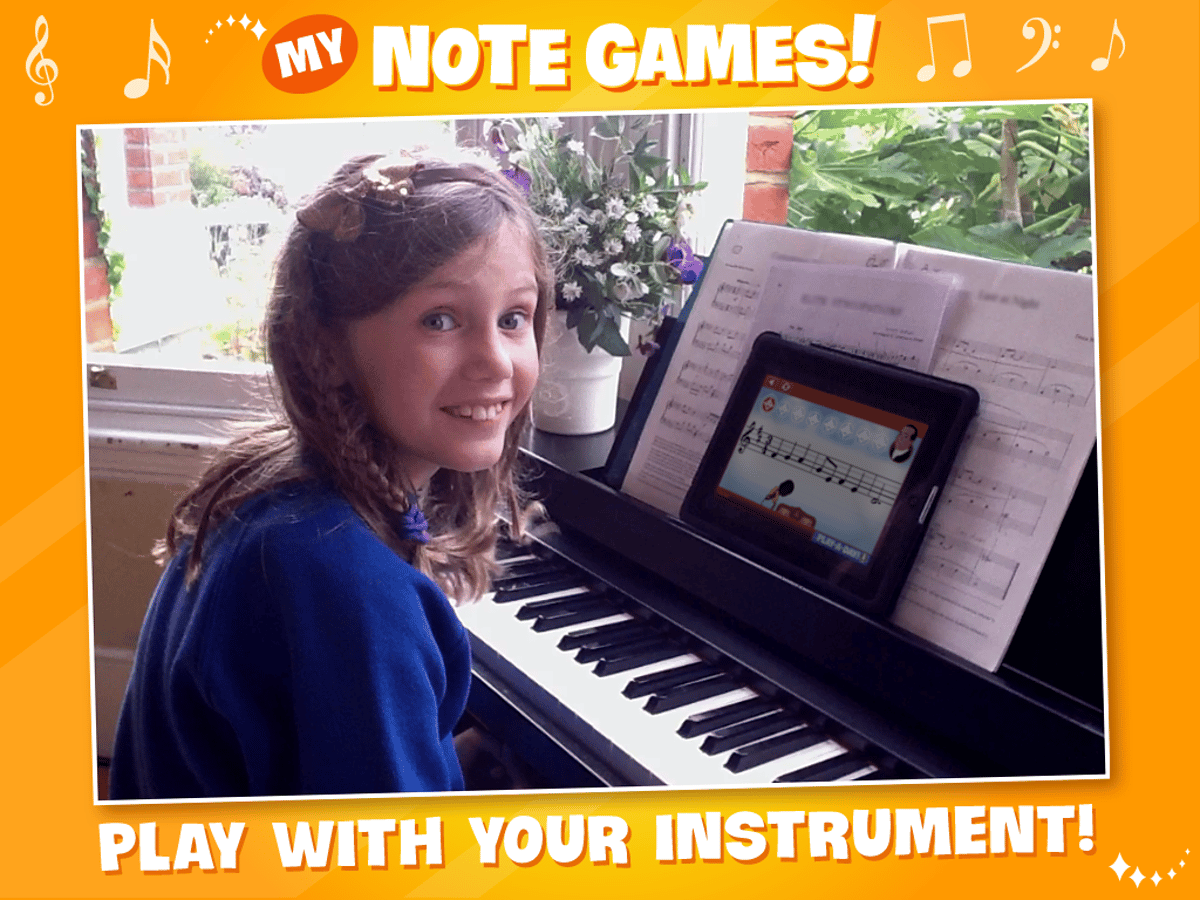 The My Note Games app uses simple games and note recognition technology to help kids develop sight reading, timing and tuneful playing skills