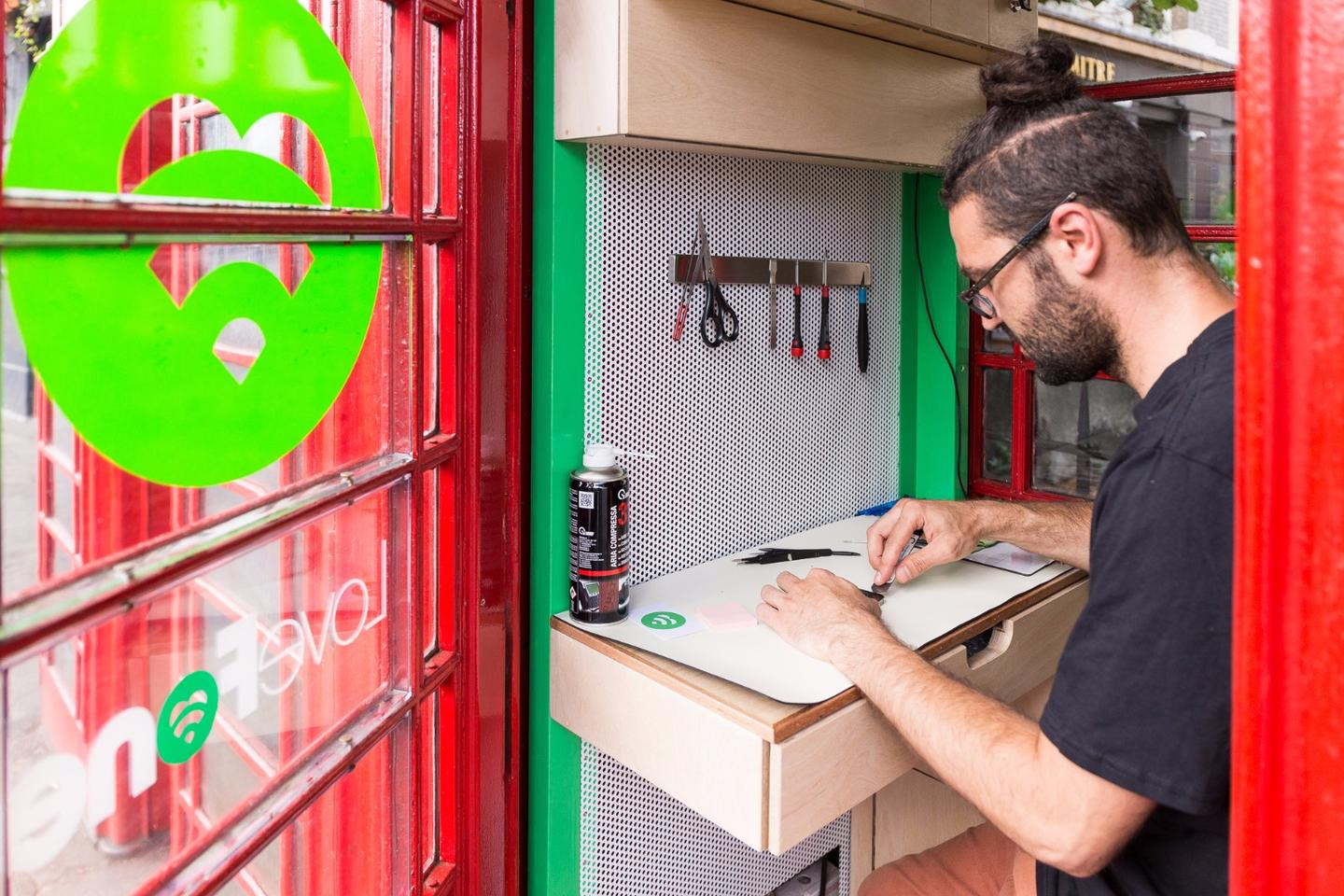 Lovefone leases the phone box units from the Red Kiosk Company