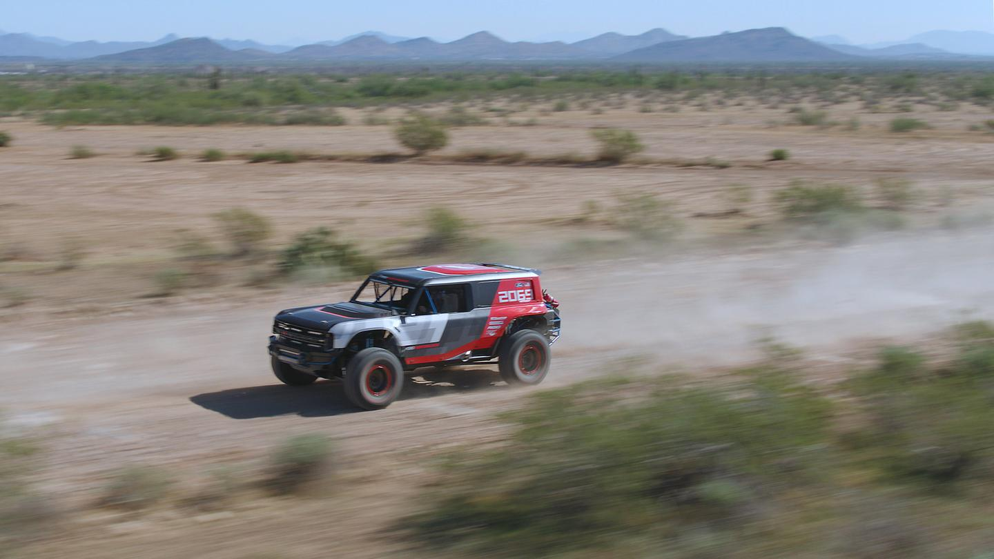 Ford's Bronco R race prototype debuts in the desert to celebrate the 50th anniversary of Rod Hall's historic Baja 1000 win, an overall victory in a 4x4