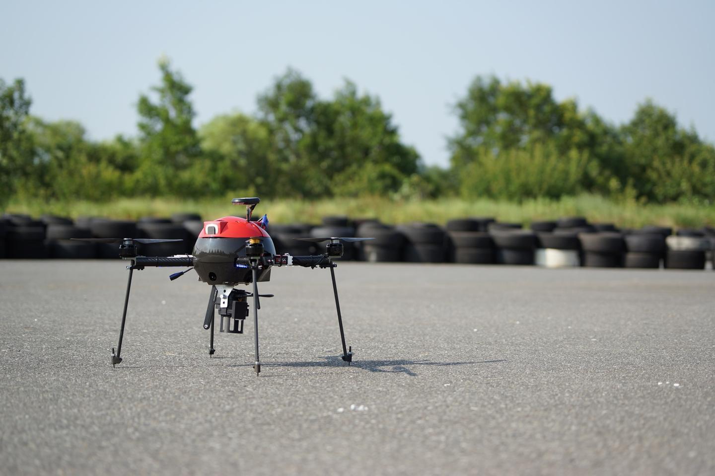 The prototype Aerosense AS-MC01-P quadcopter carries a Sony lens camera