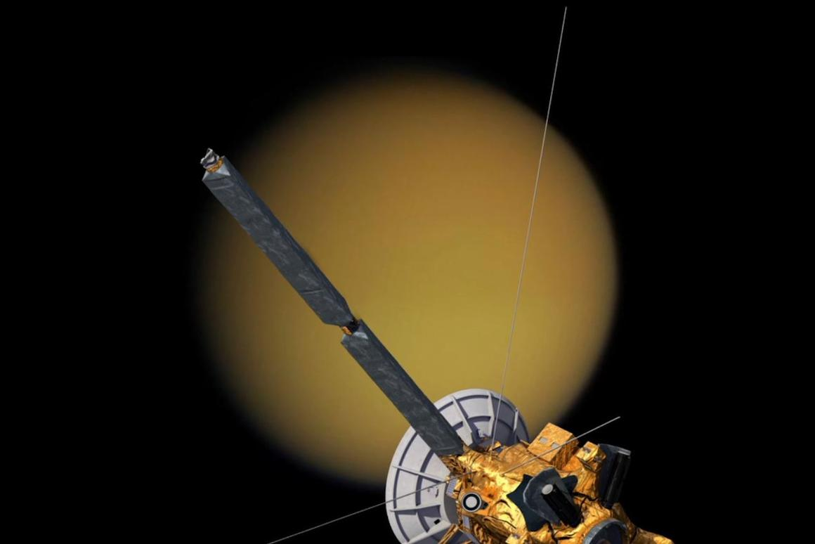 Artist's concept of Cassini approaching Titan