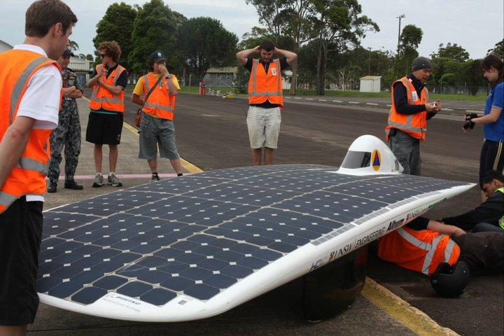 The Sunswift IVy at HMAS Albatross navy base airstrip in Nowra, NSW