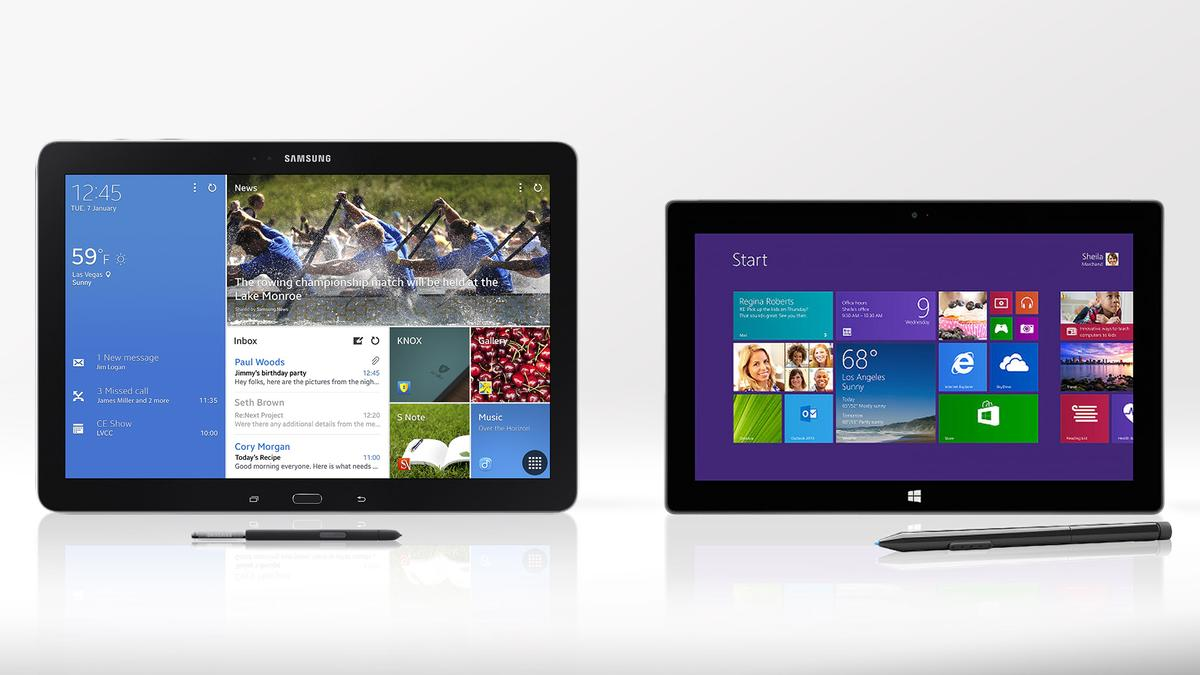 Gizmag compares the features and specs of Samsung's Galaxy Note Pro and Microsoft's Surface Pro 2
