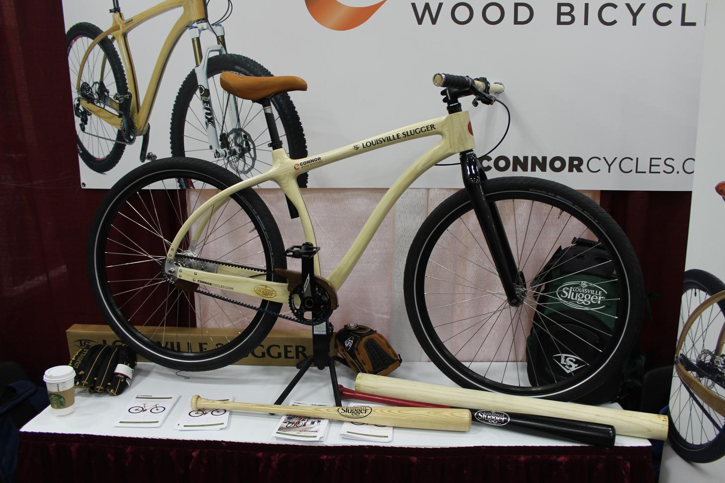 The Louisville Slugger Wood Bat Bike, on display at NAHBS 2015 (Photo: Ben Coxworth/Gizmag)