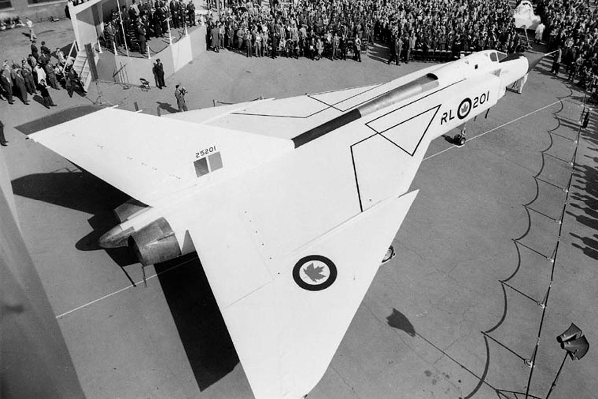 One of the actual Avro Arrows – not one of the models – is rolled out