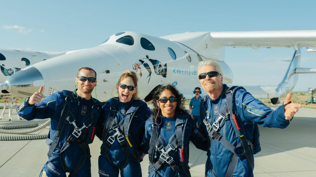 Sir Richard Branson (far right) and the team that flew on VSS Unity
