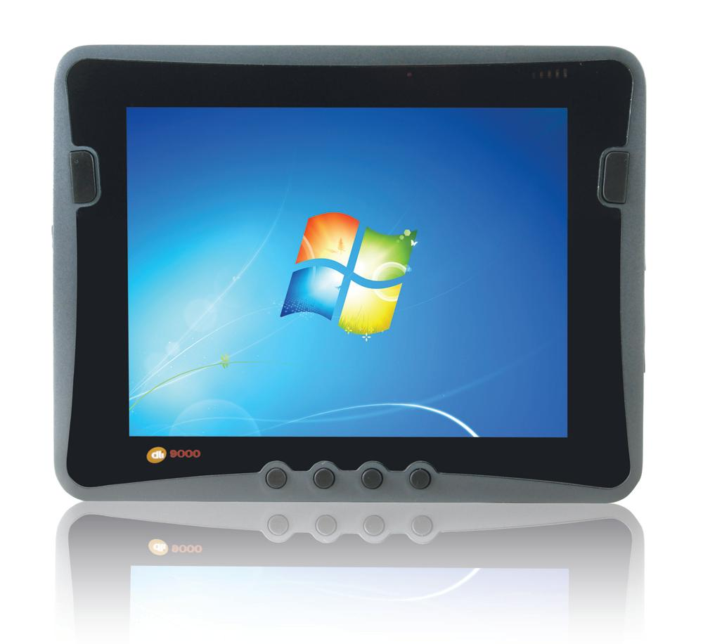The tablet's impact-resistant outer housing is also protected against water, dust and shock/vibration and encases an industrial-rated 9.7-inch, 1024 X 768 pixel resolution indoor/outdoor (800:1 contrast) capacitive touchscreen LCD display