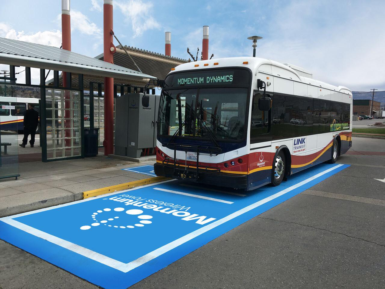 Momentum's 200 kW wireless charging system automatically starts topping up the Transit Link e-bus when parked in the blue area