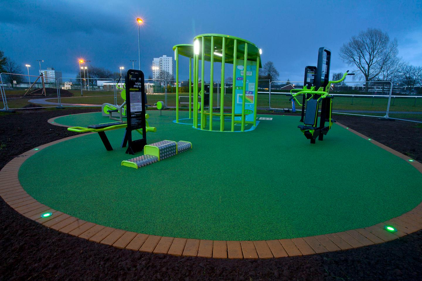 The TGO Green Heart outdoor gym at Shaw Park in Hull converts the energy produced by users of the exercise equipment and converts it into useable electricity