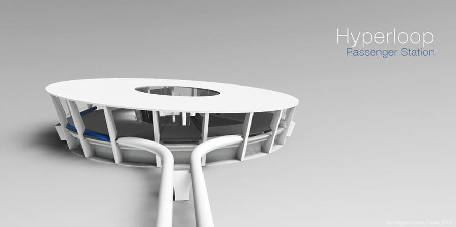 Where Elon Musk's design proposes terminals with turntables to rotate transport capsules, industrial designer Serge Roux has come up with an alternative, and one which lives up to the Hyperloop brand (Image: Serge Roux)