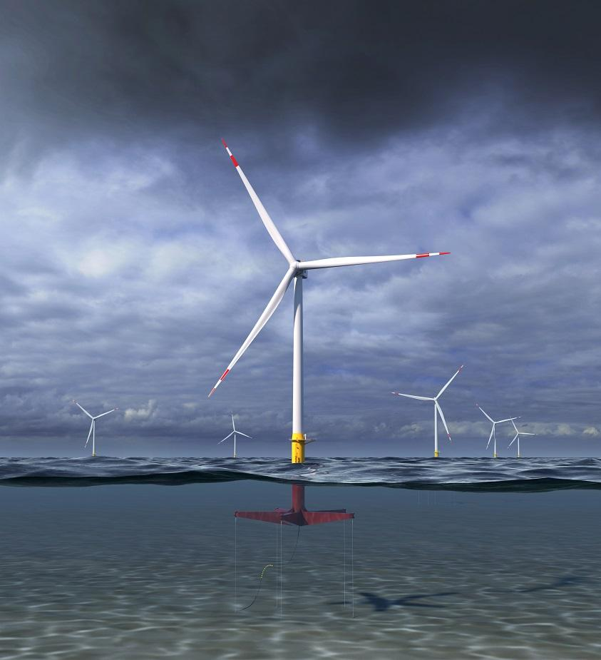 A render of GE's floating wind turbine concept