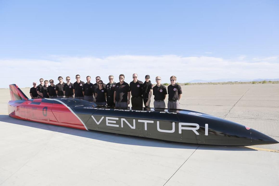 The Venturi team with the car at Bonneville