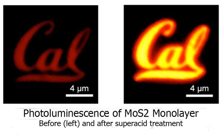 A MoS2 monolayer semiconductor shaped into a Cal logo before (left) and after (right) being treated with superacid