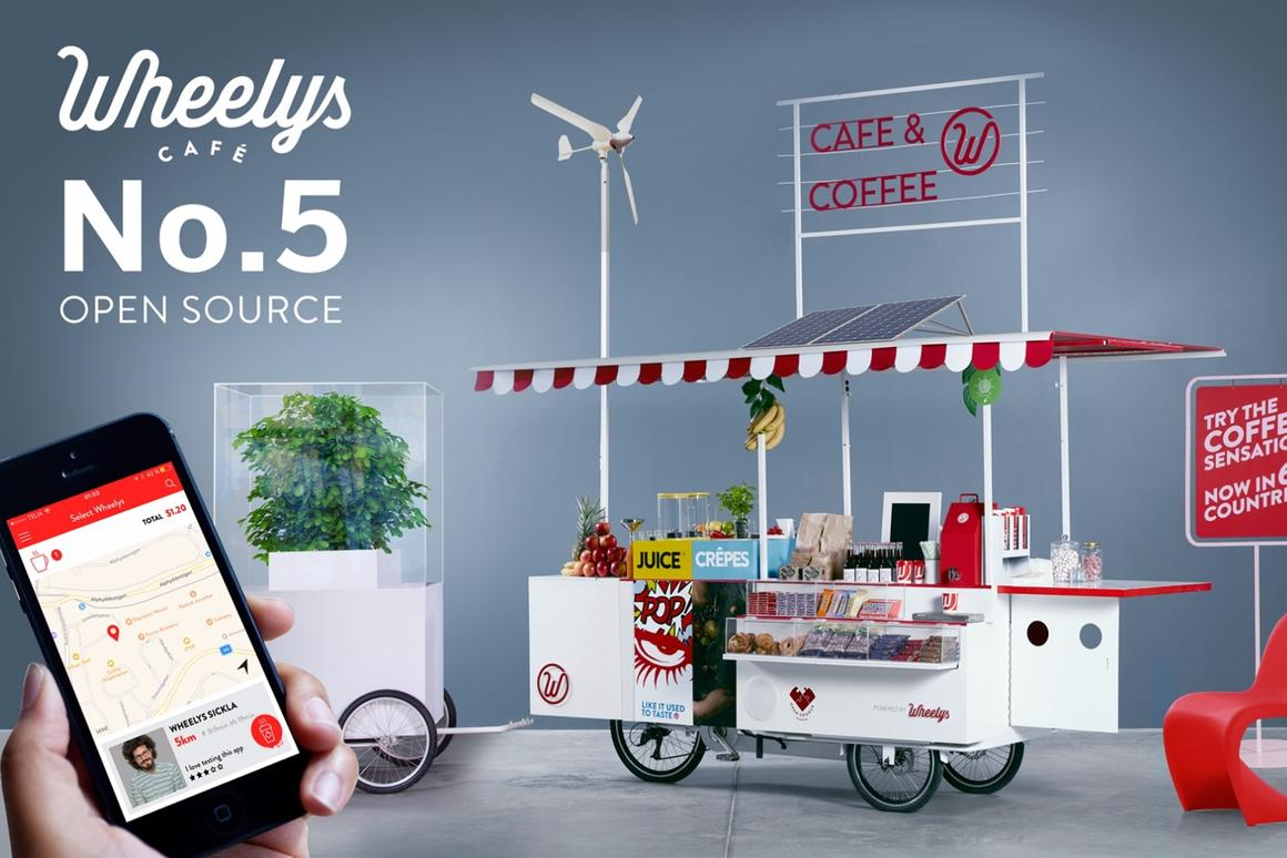 """The Wheelys 5 bike is dubbed the """"Open Source,"""" because itcan be tailored and adapted to the barista's requirements"""