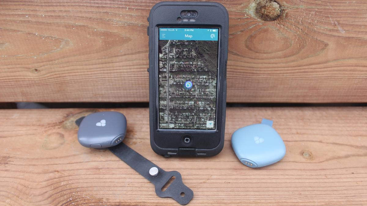 The Findster Duo+ system consists of an iOS/Androidapp along with a Pet module (left) and a Guardian module (right)