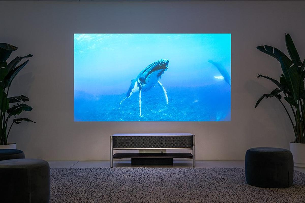 The 4K-capable LSPX-A1 ultra-short-throw projector from Sony can produce up to 120 diagonal inch images from just 9.6 inches away from the wall