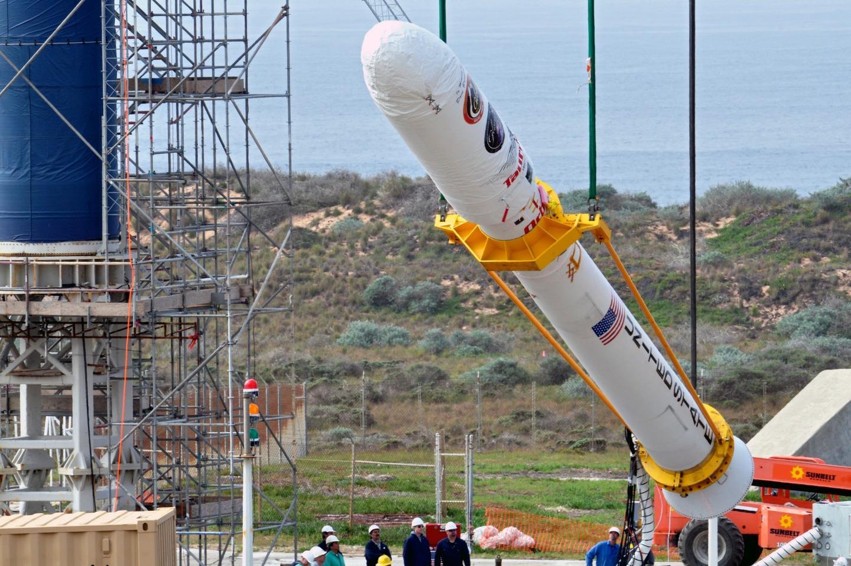 A Tarus XL rocket being assembled at Vandenberg Air Force Base