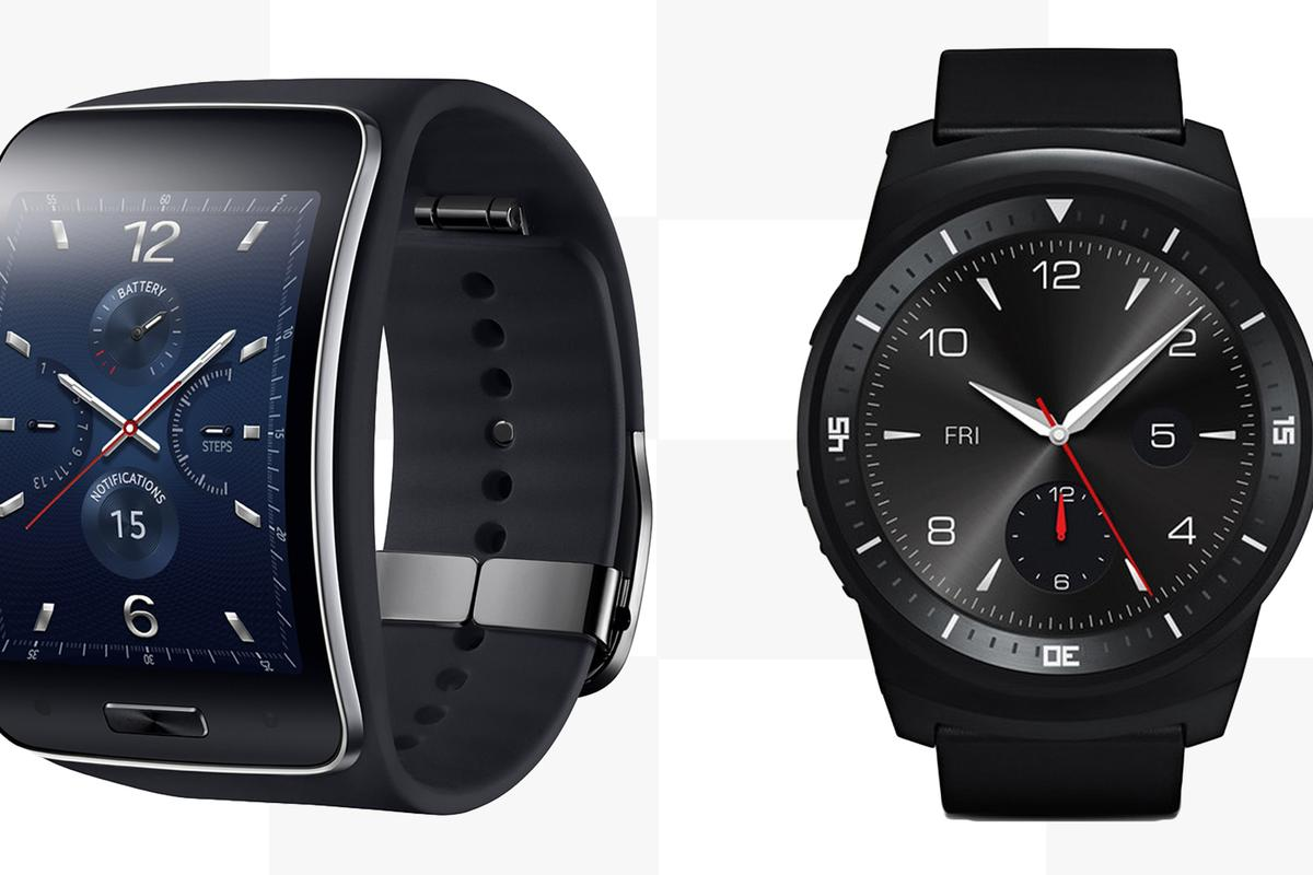 Gizmag compares the features and specs of the Samsung Gear S (left) and LG G Watch R smartwatches