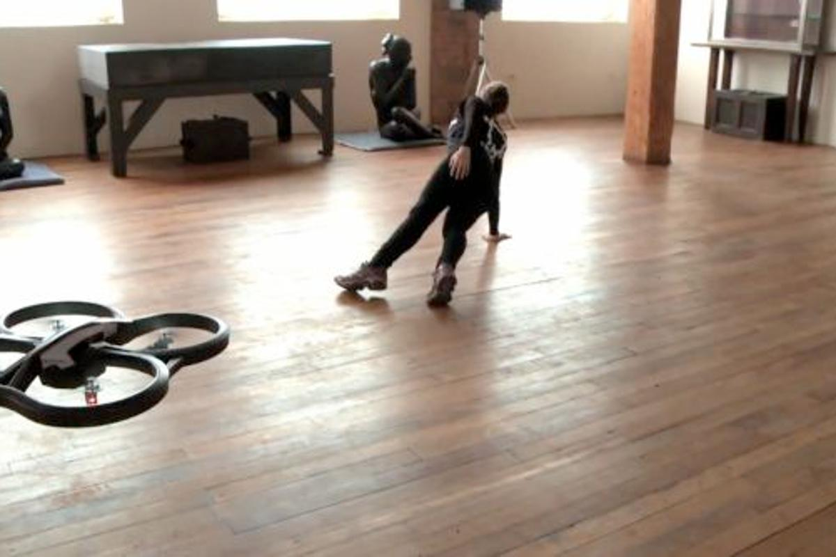Falkor Systems has developed a dance piece in which a human dancer performs with an autonomous AR Drone quadcopter