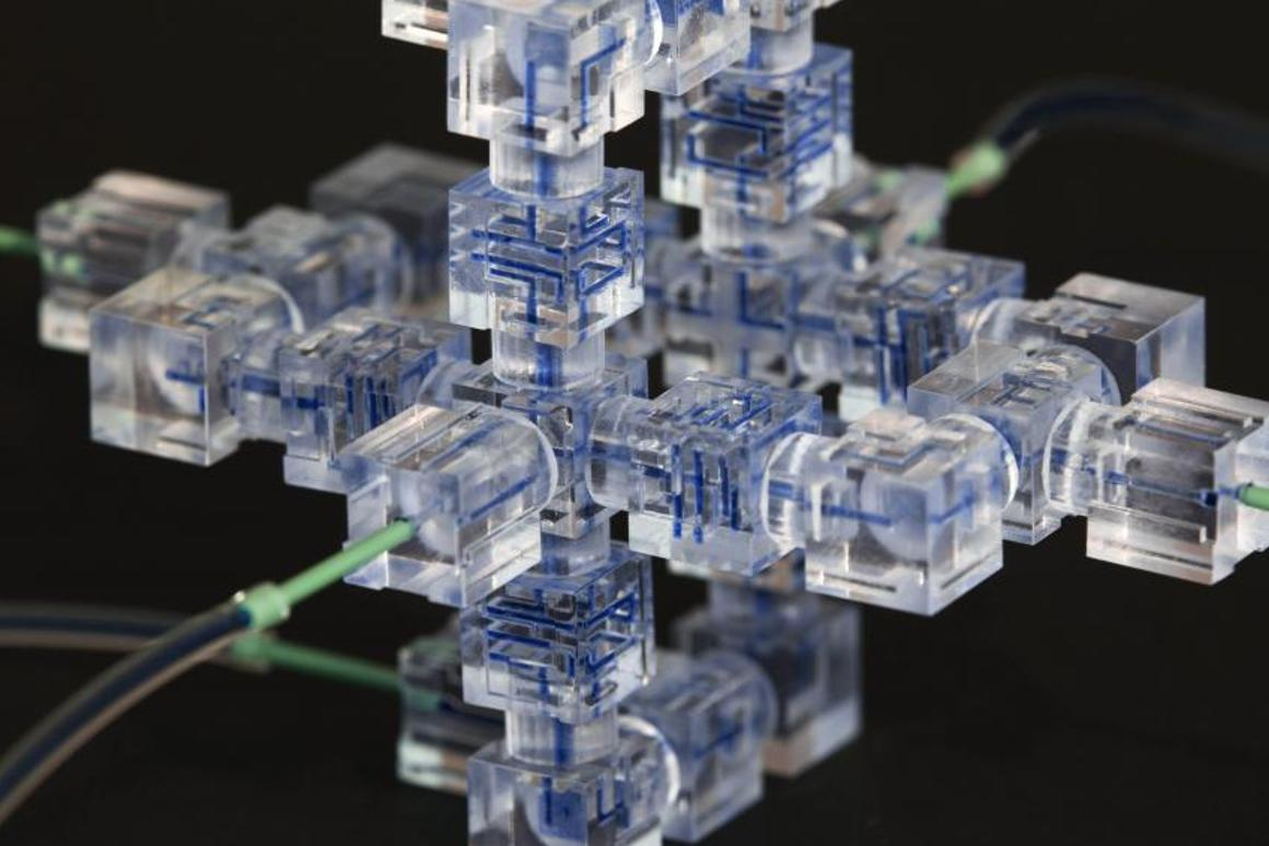 This may look like modern art, but it's actually a microfluidic system built from MFICs