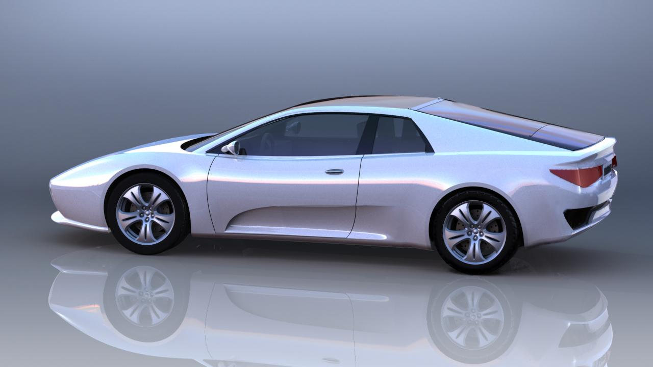 Xelestine's transformable sportscar concept in fastback mode