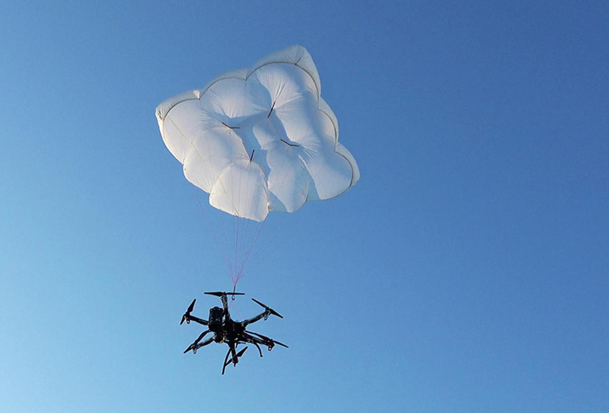 Drone Rescue's DRS-5 parachute system in action
