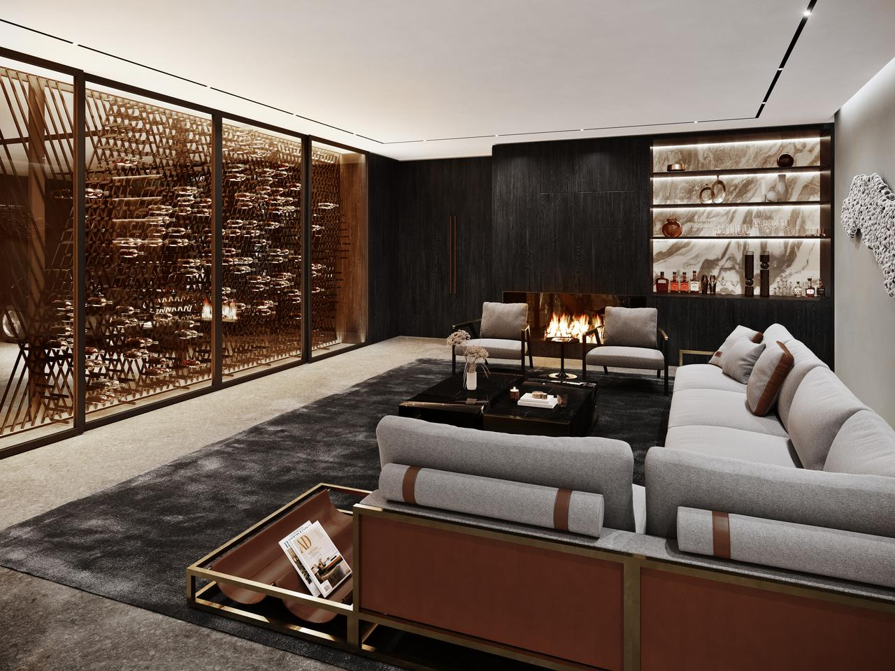 Sylvan Rock will feature a cosy lounge area with a bar and a custom wine cellar that references Aston Martin with a cross-hatched lattice design