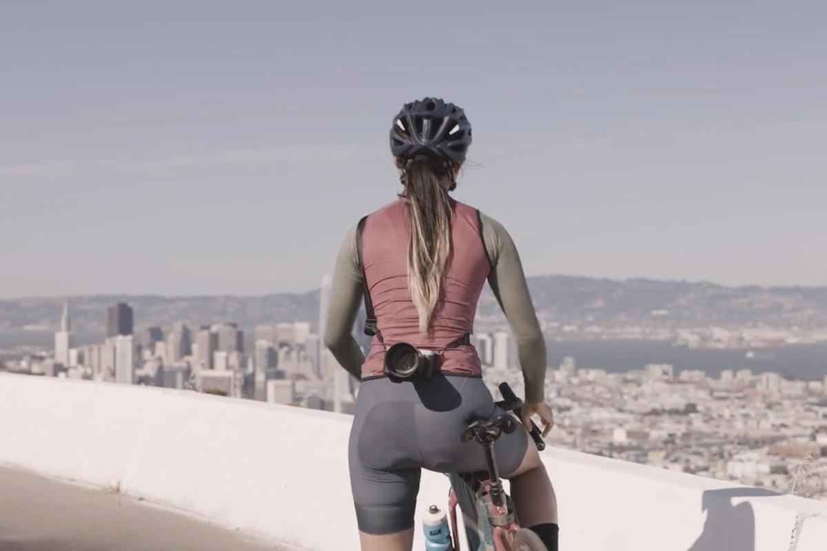 """The Makers in Motion Camera Strap – seen here in its """"riding"""" configuration – is currently on Kickstarter"""