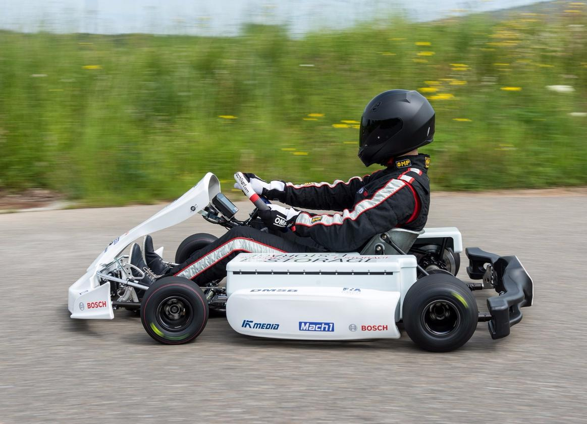 The prototype e-kart will hit 100 km/h (62 mph) in under five seconds